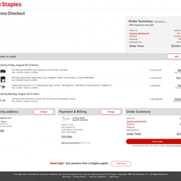 Staples - Cart and Checkout